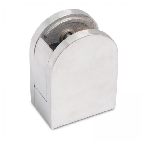 Glashalter mit Sicherungsplatte 45 x 63 x 30mm ( Edelstahl V2A, Anschluss: Flach & Ø42,4mm )