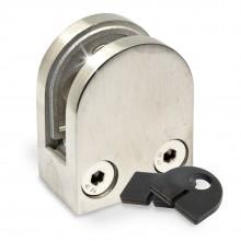 Glashalter 40 X 50mm mit Sicherungsstift & LGA ( Edelstahl V2A, Anschluss: Flach )