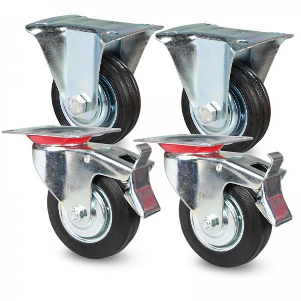 Transportrollen Set 75mm 100mm 125mm 160mm 200mm Schwarz 2 x mit Bremse + 2 Bockrollen