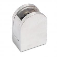 Glashalter / Glasklemme mit Sicherungsplatte - 45 x 63 mm (Edelstahl, flach)