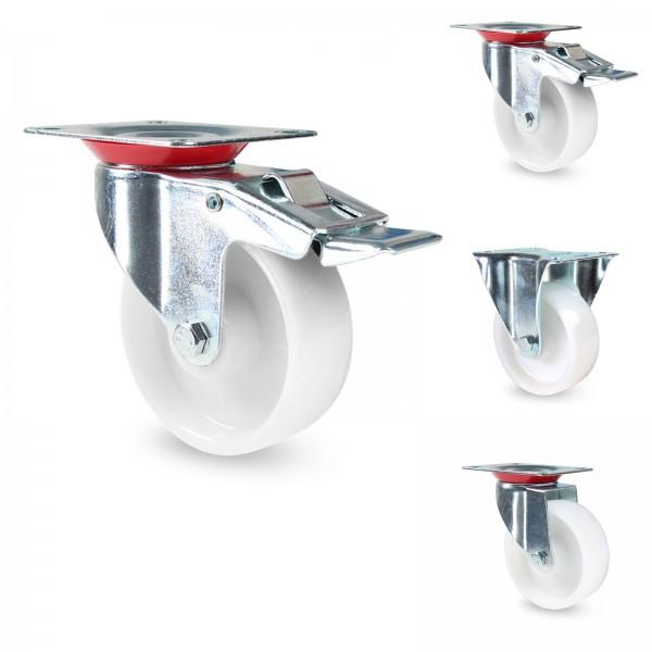 Transportrollen PP - Lenkrollen mit Bremse weiss Kunststoff 75 100 125 mm