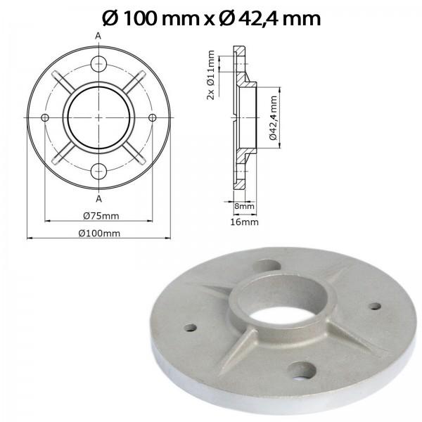 Bodenflansch U71 - Ø 100mm x Ø 42,4mm