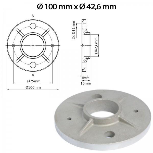 Bodenflansch U74 - Ø 100mm x Ø 42,6mm