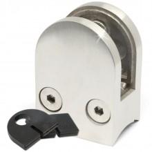 Glashalter 40 x 50 mit Sicherungsstift & LGA ( Edelstahl V2A, Anschluss: Ø 33,7mm & 42,4mm )