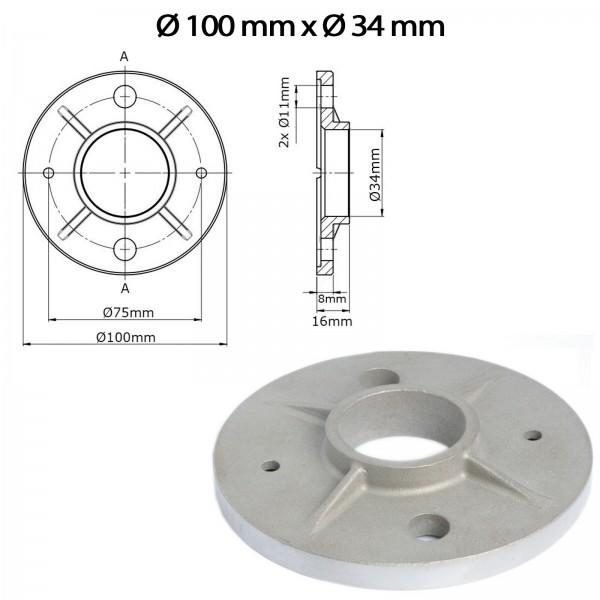Bodenflansch U75 - Ø 100mm x Ø 34mm