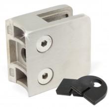Glashalter / Glasklemme für Rohr / Geländer - Glasklemmhalter rostfrei (Edelstahl V2A, Ø 42,4 mm)