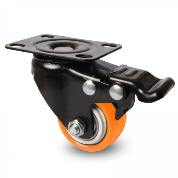 Möbelrollen Lenkrolle mit Kugellager Schrankrollen mit Bremse 40mm Schwarz & Orange